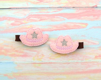 Cowgirl pig tails - Cowgirl clips -  cowgirl bow - Cowboy hair bow - Cowgirl hat - Cowgirl bows - Cowgirl clips - Little cowgirl - Cowgirl