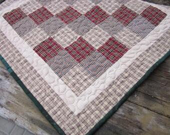 Homespun patchwork table topper, table runner, mini quilt