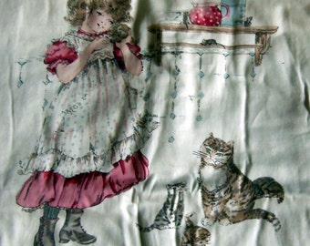 Old Fashioned Girl With Kitten Picture Panel, Ready to Quilt for Framing Or Making a Pillow, Vintage