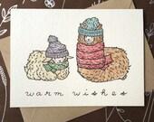Warm Wishes holiday Christmas cute sheep alpaca knitting greeting card