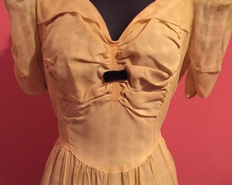 1940s Canary Yellow Chiffon Dress Gown