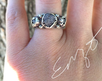 raw rough uncut diamond ring- one of a kind- engagement- wedding band- Enzo Luccati