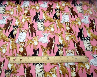 Chihuahuas on Pink premium cotton fabric from Timeless Treasures