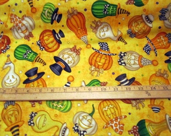 Creepy Hollow Jack O'Lanterns Toss Orange premium cotton fabric by Dan Morris for Quilting Treasures