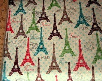 Paris Spring Expo Eiffel Towers Multi on Dots premium cotton fabric from David Textiles - paris, eiffel tower, france