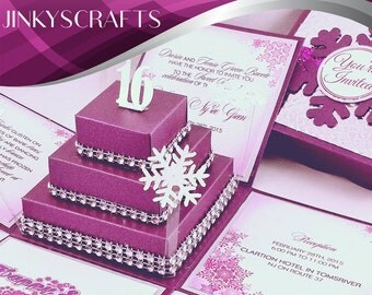 Purple Winter Wonderland Boxed Invitations with Square Cake