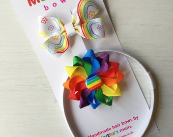 Rainbow headband gift set   rosette and classic hairbow set   rainbow and white hair accessories