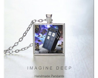 BUY 2 GET 1 FREE Doctor Who Pendant Necklace Tardis High Quality Handmade Silver Copper Pendant Square - Tardis and Daleks in Space (0060)