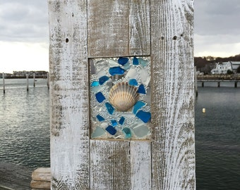 Scallop shell accented with beach glass