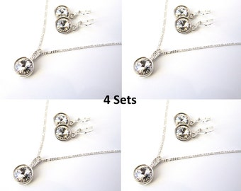 Bridesmaid Jewelry Set of 4, Bridesmaid Gift, Bridesmaid Gift Jewelry, Bridesmaid Necklace & Earring Set, Wedding Jewelry, I Do Crew Gifts