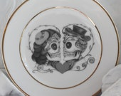 Gorgeous Gold Sugar Skull Couple Dishes, Foodsafe, PAYMENT PLANS, Discount for Whole Sets, Day of the Dead Plates, Sugarskull, Dia Muertos