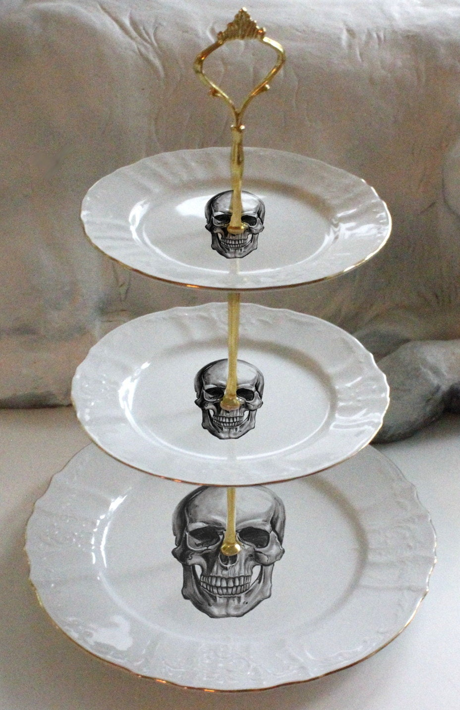 3-Tiered Skull Cake Stand, Halloween Cake Stand, Halloween