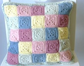 Pastel crochet cushion cover, reversible cushion cover, crochet pillow