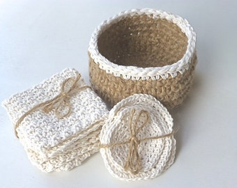 spa set, jute crochet basket, washcloth and face scrubs, bathroom set, crochet face cloth, neutral bathroom accessory, Free UK shipping,