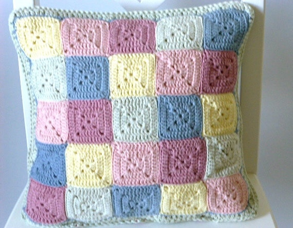Pastel crochet cushion cover, reversible cushion cover, crochet pillow