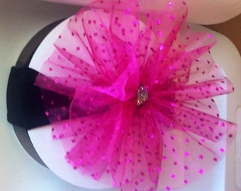 Birthday girl tulle puff hair bow with nylon headband and a little bling in the center