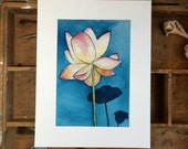 Lotus.  An archival print of an original watercolor flower painting.
