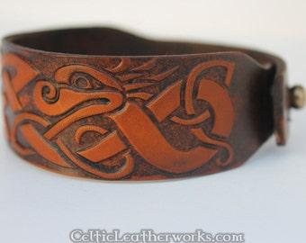 Celtic Dragon Leather Cuff