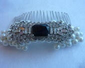 Art Deco Bridal Hair Comb: 50% OFF Stunning vintage setting and palest ivory glass pearls