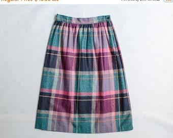 25% OFF SALE / vintage plaid skirt / magenta and teal wool pencil skirt / Kayo / medium