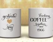 TWO MUGS!!!  50th Anniversary Gifts, Golden Wedding Anniversary Gifts, 50th Golden Anniversary Gifts, Personalized Mug, Couples Coffee Mugs,