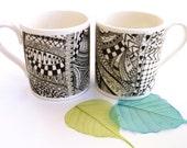 Bone china mug ~ Valentines gift ~ Black white mugs zentangle coffee tea engagement wedding house warming gift Valentine's gifts for couple