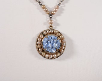 Vintage Edwardian 1920s Wedding Necklace - Blue Floral Pearl - Bridal Fashions