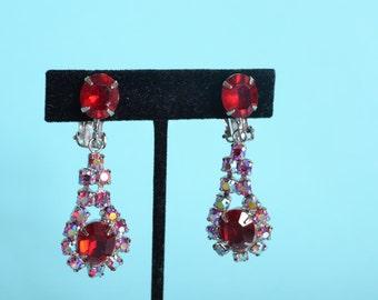 Vintage 1960s Red Rhinestone Earrings - Aurora Borealis - Wedding Bridal Fashions