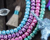 Infinity Circles Pastel Handmade Bone Beads, 6x8mm, 31 beads, Purple, Pink, Aqua, Mint, Natural Craft, Boho Jewelry Making Supply, Spring