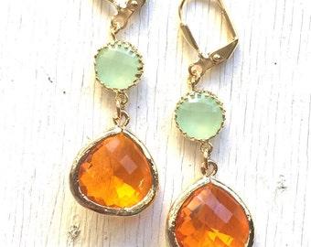 Dangle Earrings. Orange Teardrop and Mint Stone Dangle Earrings. Fashion Earrings. Mint Orange Bridesmaid Earrings. .