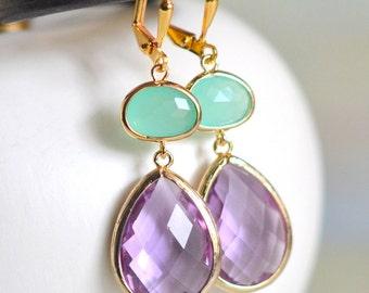 Purple and Aqua Dangle Earrings in Gold. Bridesmaids Earrings. Fashion Earrings. Jewelry. Drop. Dangle. Gift. Wedding. Gift.