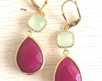 Dangle Earrings Fuchsia Teardrop and Light Mint Stones. Long Dangle Earrings. Wedding Jewelry. Gift. Bridesmaid Jewelry. Statement. Drop.