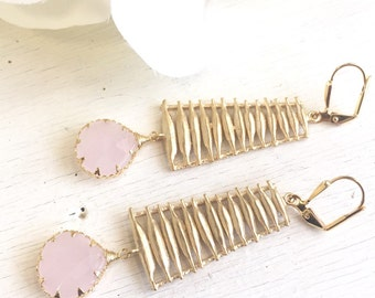 Pink and Gold Statement Earrings.  Dangle Earrings with Gold Washboard and Link Stones.  Jewelry Gift.  Dangle Earrings.  Jewelry.