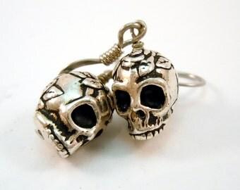 Halloween Skulltastic Day Of The Dead Decorative Silver Skull Earrings