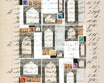 Page 153: original mixed media artwork on authentic antique ledger book page abstract geometric houses white black beige grey primary colors