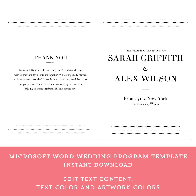 printable wedding program order of service editable ceremony