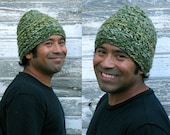 Dome Dollop - thickskulled warm crochet hat in dark green and pastel blends, unisex