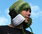 Crochet hat with pockets on ear flaps - Neapolitan Pocket Pop in greens, cream, and white