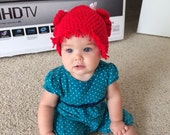 Crochet Baby Hat, Baby Girl Hat, Raggedy Ann, Inspired, Red, 0 - 3 months, Photo Prop, READY TO SHIP