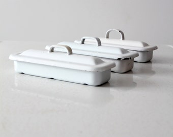enamelware trays with lids, vintage enamel medical box set of 3, refrigerator dish