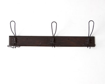 FREE SHIP  antique wall rack with wire coat hooks, mounted coat rack