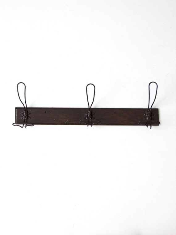 Antique Wall Rack With Wire Coat Hooks Mounted Coat Rack