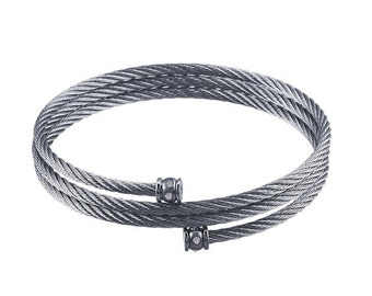 Stainless Steel Cable Bracelet  w/ Cubic Zirconia End Accents                         CC-30789