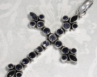 Vintage Sterling Silver And 25 Faceted Dark Amethyst Stones Cross Crucifix Pendant Hand Crafted BEAUTIFUL OLD PIECE