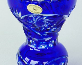 Cobalt Blue Hand Crafted & Polished Cut To Clear Footed Lead Crystal Vase Germany With Original Label PRISTINE