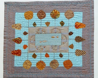 Quilted table runner, Autumn Trees Art Quilt, Housewarming decor, turquoise grey, burnt orange brown, unique table decor, modern quilt