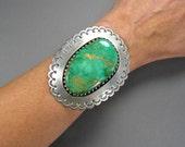 Debbie Silversmith Cuff, Sterling & Turquoise Navajo Bracelet, MASSIVE Cuff, Statement Bracelet, Vintage Native American Jewelry