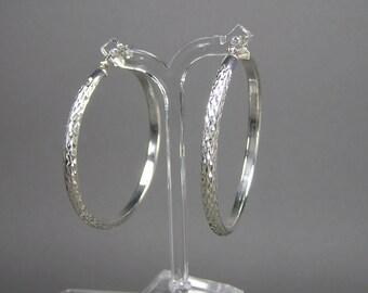 Large Sterling Hoop Earrings, Gypsy, Boho, Vintage Silver, Snakeskin, Diamond Pattern