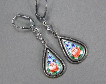 Russian Enamel Earrings, Vintage Finift Earrings, Medieval , Boho Tear Drop, Flowers