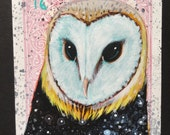 Barn Owl Star on a playing cards. Original acrylic painting. 2016